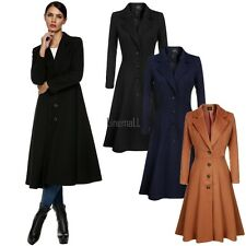 Women Single Breasted Overcoat Long Trench Coat Outerwear plus size LM