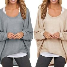 Nude grey off shoulder slouchy oversized baggy loose draped batwing jumper top