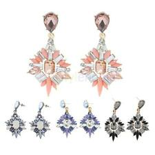 Lady Popular Jewelry Alloy Ear Studs Leaf Crystal Shape Ear Hook Dangle Earrings
