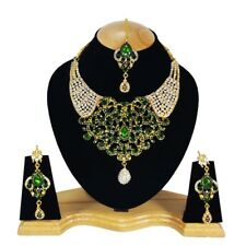Green Various Style Gold Plated Kundan Zerconic Bollywood Jewlery Set Earrings