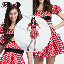 Ladies Red Missy Mouse Fancy Dress Costume Minnie Disney Outfit Womens