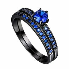 18K CZ Wedding Engagement Ring 2-in-1 Men Woman Solitaire Blue Sapphire Jewelry