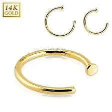 "1PC. 20G.18g~5/16"", 3/8"" 14 Karat Solid Yellow Gold Nose Hoop Ring"