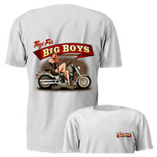 New Toys For Big Boys Pin Up Girl White Motorcycle Graphic T-shirt S M L XL 2XL