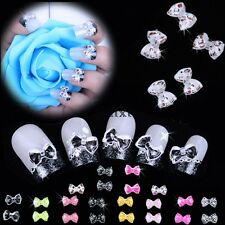 20PCS Hot 3D Nail Art Tips Bow Tie Slices Acrylic Decoration Bling Lot TXWD
