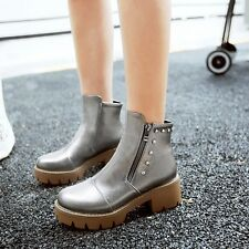 Womens Ankle Boots Casual Chunky Heel Booties Soft Faux Leather Round Toe Shoes