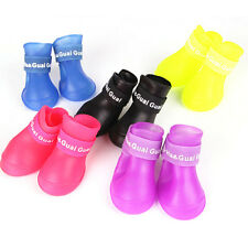 Waterproof 4Pcs Dog Anti-Slip Candy Colors Boots Pet Rain Shoes Booties S M L
