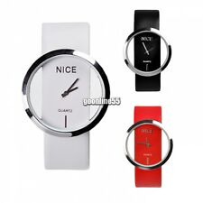 Fashion Cool Lady Women Synthetic Leather Transparent Dial Wrist Watch 3 Colors