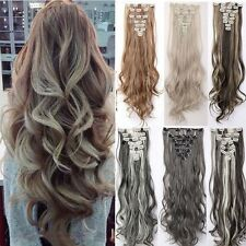 NEW 100% Natural Clip in Hair Extensions 8 Pieces Full Head Brown As Human  H818