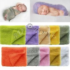 Mohair Crochet Knit Wrap Newborn Baby Boys Girls Photography Prop Cloth Blanket