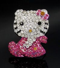 LARGE HELLO KITTY AUSTRIAN CRYSTAL PINK BOW SILVER ADJUSTABLE RING