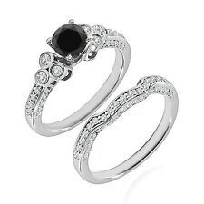 1 Carat Black Diamond Wedding Promise Solitaire Design Ring Band 14K White Gold