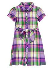 Gymboree Falling for Feathers SZ 4 Girls Dress Purple green Plaid NEW