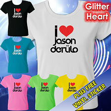 I LOVE JASON DERULO T-SHIRT TEE – RED GLITTER HEART – LADIES & TEENS SIZES