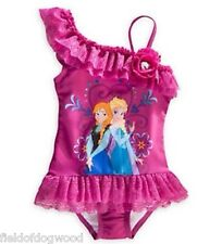 NEW DISNEY STORE FROZEN ANNA ELSA RUFFLE 1 pc SWIMSUIT Girls SZ 3 4 4T