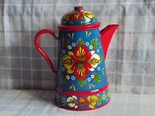 Blue & Red Enamel Coffee Pot, Narrow Boat, Barge Ware, Canal Art, Folk Style