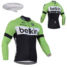 Winter Cycling Clothing Bicycle Long Sleeve Jerseys Thermal Fleece Warm Green