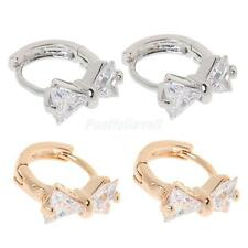 Lady Fashion Jewelry Cubic Sweet Bowknot Shape Rhinestone Ear Lobe Stud Earrings