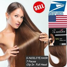 Long Soft 7Pcs 15 Clips In 100% Real Remy Human Hair Extension Full Head US U143