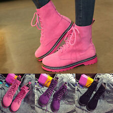 New Women Autumn Winter Shoes Suede Martin Boot Lace Up High Top Boots