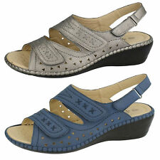Ladies Eaze F3109 Navy Or Pewter Synthetic Wedge Sandals