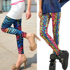 New Women Colorful Rainbow Print Leggings Stretchy Sexy Pencil Pants Jeggings