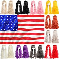 """32"""" 80cm Heat Resistant Long Bangs Curly Wavy Full Wigs Cosplay Anime Party Wig"""