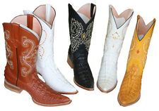 MENS WESTERN COWBOY  LEATHER CROCODILE  PRINT (EMBOSSED COCO)  BOOTS SNIP TOE ``