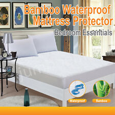 Bamboo Terry Pile Fully Fitted Waterproof Mattress Protector---ALL SIZE