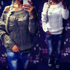 WOMEN CASUAL SEXY LONG SLEEVE HOLLOW OUT LOOSE KNITTING SWEATER KNITWEAR WARM