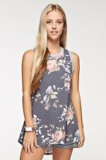 12PM by MON AMI Floral Print Charcoal Gray Womens Tank Top/Blouse NEW ARRIVAL