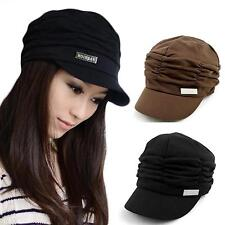 New Womens Fashion Pleated Layers Beret Beanie Hat Peaked Brim Sun Cap Headwear