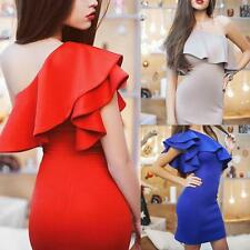 Sexy Women one shoulder lotus sleeve bodycon clubwear party cocktail mini dress