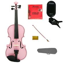 "New Pink Viola & Bow+Case+Extra Set Strings+Rosin+Tuner 16""15""14""13""12""11""10"""