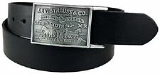 NEW LEVIS STRAUSS REMOVABLE PLAQUE BUCKLE BLACK BELT LEATHER MENS 11LV0253