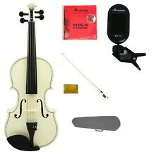 "New White Viola & Bow+Case+Extra Set Strings+Rosin+Tuner 16""15""14""13""12""11""10"""