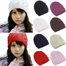 Fashion Womens Knit Crochet Ski Hat Winter Warm Braided Baggy Beret Beanie Cap