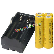 4x 3.7V 18650  9800mAh Li-ion Rechargeable Battery Cell + 18650 Charger