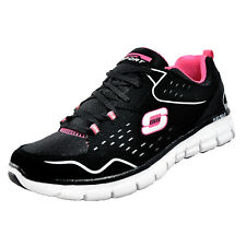 Skechers Synergy Front Row Memory Foam Womens Fitness Casual Trainers Black Pink