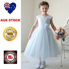 Blue Satin Embroidered Lace & Tulle Flower Girl Dress Wedding Party Girls Dress
