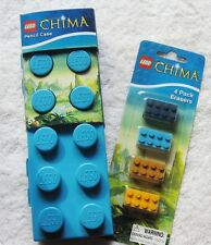 Lego Chima Brick Pencil Case & 4xEraser Pack/ Back to School Gift/ Brand New