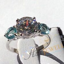 Three-Stone CZ & Created Blue Topaz Genuine 925 Sterling Silver Engagement Ring