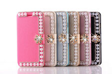 Luxury Bling Diamond Shiny Peal Card Slots Flip Wallet Case For iPhone 6 6s plus