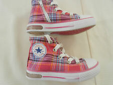 Converse All Star Girls Pink tartan High Top Pumps Trainers  Size 7 Infant .