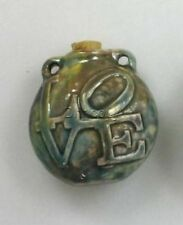 Raku Ceramic Pottery Bottle-Necklace, Love Design, Choice of Lot Size & Price