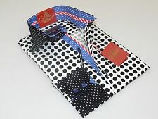 Mens AXXESS Wrinkle Free Cotton Shirt High Collar Polka Dots 216-19 White Black