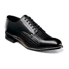 New Madison Stacy Adams Mens Shoes Black Leather Cap toe oxford Woven  00070-001