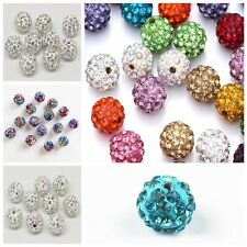 20PC Multicolor Czech Crystal Rhinestone Pave Clay Round Disco Ball Spacer Bead