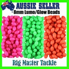 Fishing Soft Lumo/Glow Beads 200 pack 8mm Choose Pink, Green or Orange