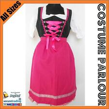 Womens Authentic German Pink Red Dirndl Oktoberfest Fancy Dress Ladies Costume